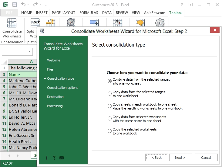 ... multiple Excel worksheets into one - Consolidate Worksheets Wizard