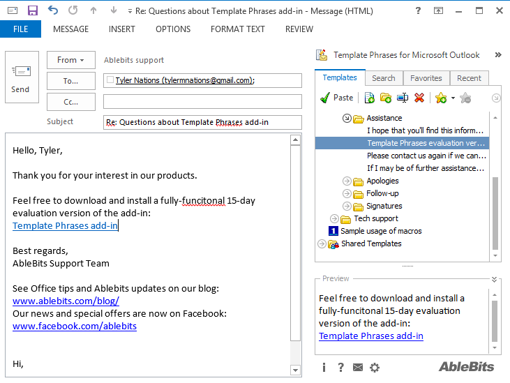 use email template outlook 2013 - insert template phrases into outlook emails with a click