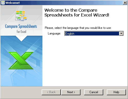Compare Spreadsheets for Excel installation wizard: choosing the language.