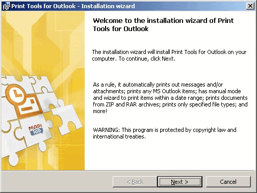 Installing Print Tools for Outlook