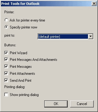 Print Tools for Outlook: Printer setup