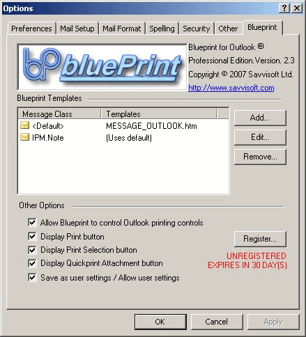 Blueprint 4 Outlook: Options window