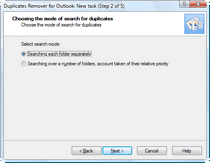 Select the Outlook duplicate search mode.