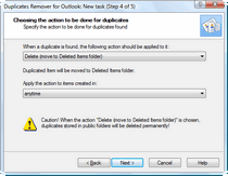 Action to be performed with found Outlook duplicates.